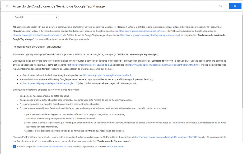 aceptar política de google