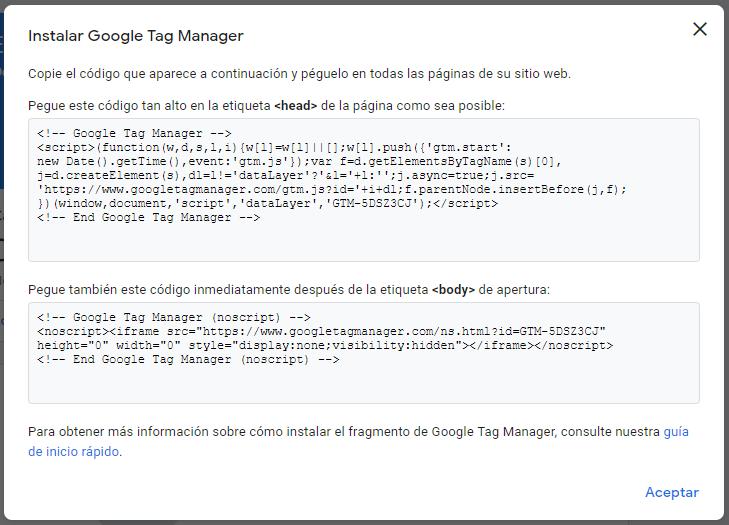 código para instalar google tag manager