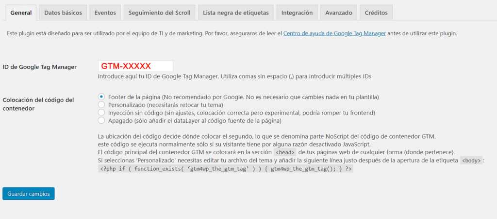 plugin para instalar google tag manager