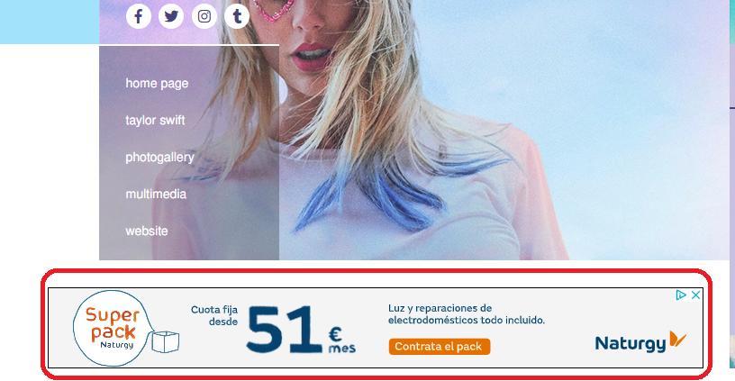 anuncio web de taylor swift