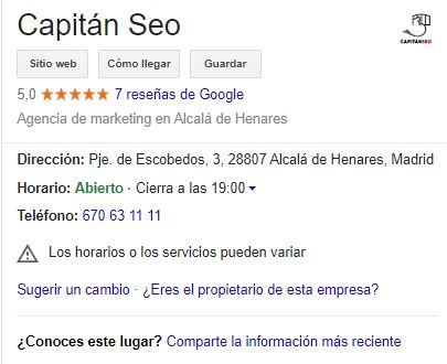google my business - ficha