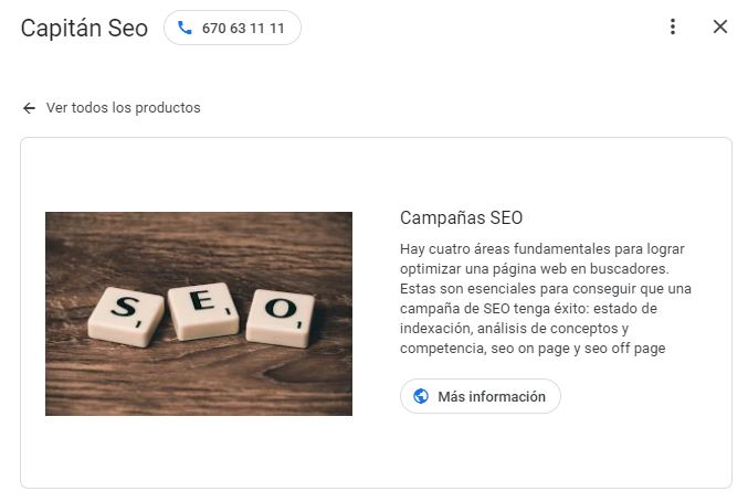 google my business - productos 2