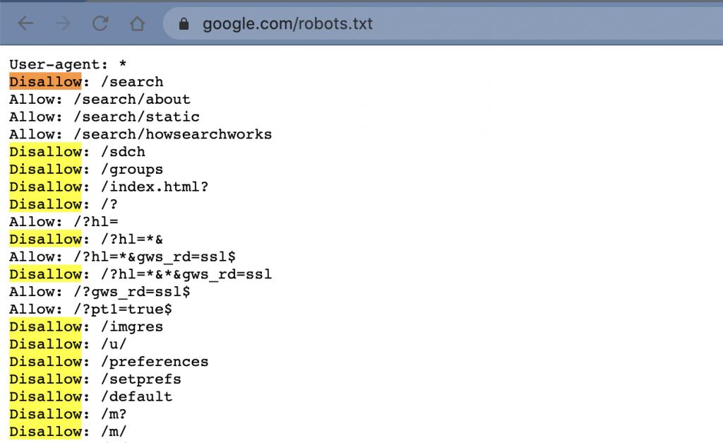 google robot.txt