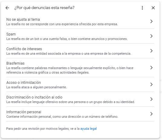 razones para eliminar una reseña en Google My Business