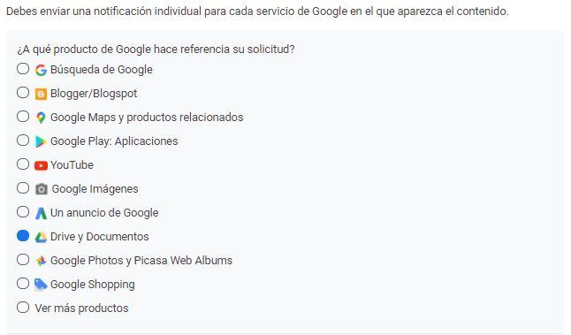 Servicios de Google en los que podemos denunciar un plagio